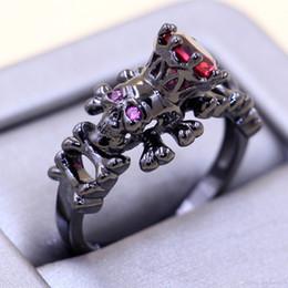 $enCountryForm.capitalKeyWord Australia - Size 5 6 7 8 9 10 Punk Fashion Jewelry 10kt Black Gold Filled Ruby CZ Diamond Weddiing Women Band Skull Ring for Lover's gift