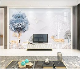 Houses wallpapers online shopping - WDBH d photo wallpaper custom mural Embossed modern minimalist landscape elk tree decor living Room d wall murals wallpaper for walls d