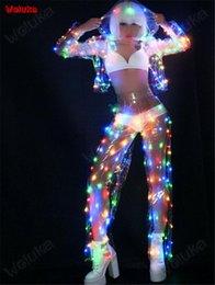 LED deslumbrante transparente com capuz traje partido terno desempenho luminescente DJ Dance Dance Team stage dress CD15 T02