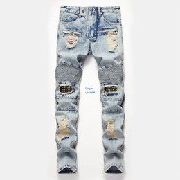 nail fashion trends UK - Cost price Cost price New Men jeans 2019 new products Hole Willow Nail Small Straight Canister Jeans Trend Men's Wear Patch Trousers