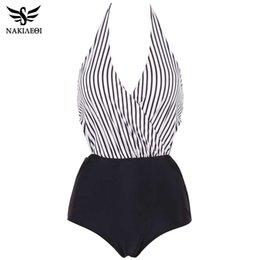 6c19dfa4ad Nakiaeoi 2019 New Sexy One Piece Swimsuit Plus Size Women Swimwear Backless  Halter Top Swimsuit Patchwork Bathing Suit Swim Wear J190519