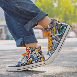 $enCountryForm.capitalKeyWord Australia - New canvas shoes men's high-top net red shoes summer hand-painted graffiti shoes blasted