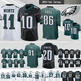 2591d7d2b33 Philadelphia Jerseys Eagle 11 Carson Wentz 10 Jackson 9 Nick Foles 86 Zach  Ertz 17 Jeffery 20 Dawkins 91 Cox jersey