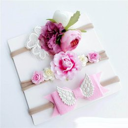 Hair band wings online shopping - month children s artificial flower hair band set Wing felt cloth bohemian baby holiday hair accessories headdress