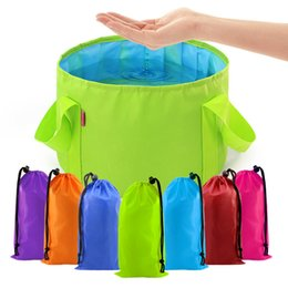 Kitchen Colors Australia - 15L Oxford Cloth Eco-friendly Folding Bucket Portable Home Garden Picnic Waterproof Storage Bag Camping Accessories 14 Colors
