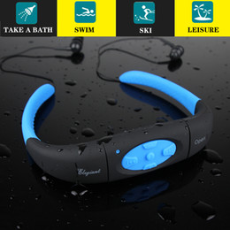 Discount neckband mp3 player - IPX8 Waterproof 8GB Underwater Sport MP3 Music Player Neckband Stereo Earphone Audio Headset with FM for Diving Swimming