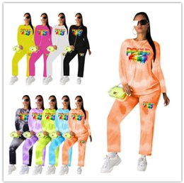 $enCountryForm.capitalKeyWord Australia - Womens sportswear long sleeve outfits two piece set letter lips print tracksuit jogging sport suit sweatshirt tights sport suit