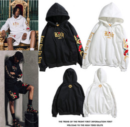 White Rose Pullover Australia - Hip hop street mens hoodies brand mens and womens with the same embroidered white gold rose hooded jacket lovers hoodie sweaterM-XXL