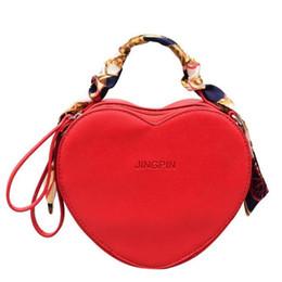 Heart Shaped Red Handbag Australia - Fashion Design Heart Shaped Women Shoulder Bag Pu Leather Messenger Crossbody Bags For Girls Chic Handbag With Scarf Handle