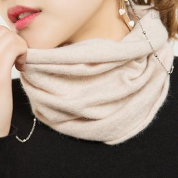 Wholesale Women s Scarf Ring Wool Cashmere Neck Warmer Angora Rabbit Cashmere Cowl Collar Loop Scarves Women Knitting Accessories Y200104