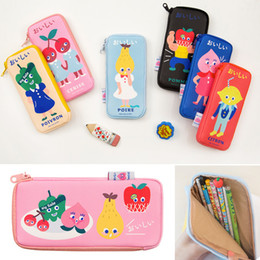 Bags Schools NZ - 2019new cute cartoon fruit vegetable print retro pu large pencil case cosmetic cosmetic bag escolar papelaria school stationery