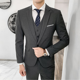 grey slim fit suits for groom Australia - MOGU Christmas New Men's Suits Jacket 3Pieces Fashion Slim Fit Blazer For Men One Button Wedding Groom Blazer Size 3XL 3 Colors