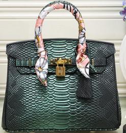 Gold Handles Australia - 25CM Faux Leather Snake Grained BK Padlock Handbag Gold Hardware H K Women Top Handle Bag Crossbody Shoulder Messenger Purse With Scarf