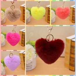 Heart Shaped Handbags Wholesale Australia - 21 Colors Heart Shaped Pom Pom Artificial Bunny Fur Key Rings Sliver Luxury Keychain for Handbag DIY Jewelry Pendant Gift