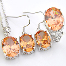 $enCountryForm.capitalKeyWord NZ - 3Pieces Set Classic Jewelry Full Morganite Champagne Color 925 Silver Plated Pendants Rings Dangle Earrings Jewerly Set Holiday Party Gift