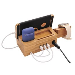 Wholesale Charging station Apple Watch Airpods charger bracket iphone charging base line management wooden charging station with USB interfaces