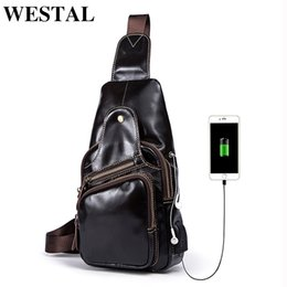 chest belt for men Australia - WESTAL Messenger Bag Men Leather Crossbody Bags for Men USB Charging Chest Bag Belt Leather Men's Shoulder Bags Small 8123