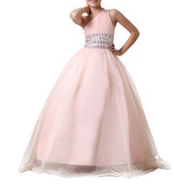 One Shoulder Shirt Organza Australia - One Shoulder Organza Lace up Princess Gown Cute Little Flower Girl Dress Floor Length Hand Made Flowers Bows Kids Prom Birthday Dress