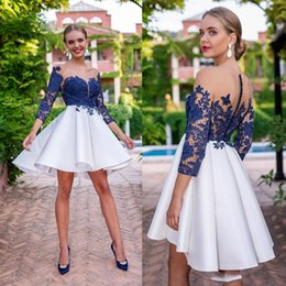 Wholesale dress line black long white resale online – Royal Blue Cocktail Dresses New Sheer Neck Appliques Lace Long Sleeve Ruffle Mini Short Homecoming Gown Graduation Mother Formal Dress