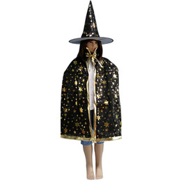 $enCountryForm.capitalKeyWord UK - Halloween Witch Hat Cloak Set Costume Party Glitter Star Decoration Witch Hat Cospaly Costumes Prop 899