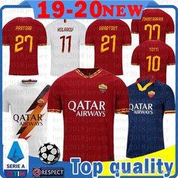 venda por atacado camisa de futebol MEN Roma Soccer Jersey TOTTI DZEKO Zaniolo DE ROSS Florenzi Kolarov Strootman Perotti Pellegrini Maillots de pé