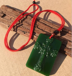 green poles NZ - Hetian Yubiyu Cross Jade Pendant Spinach Green Jesus Cross Jade Pendant Jade Peace Necklace