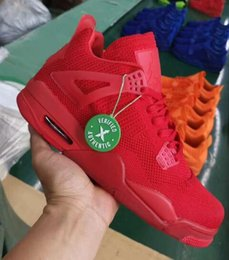 98ed9da9df 2019 Cheap New Mens 4 IV basketball shoes 4s weave Game Red Blue Green  Orange j4 air flight sneakers boots a4 for sale US7-13