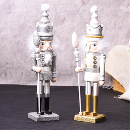 soldier cartoon NZ - High Quality 42CM Nutcracker Glitter Soldier Puppet Wooden Crafts Home Decoration Desktop Ornaments Birthday Gifts Toy for Girl Kids