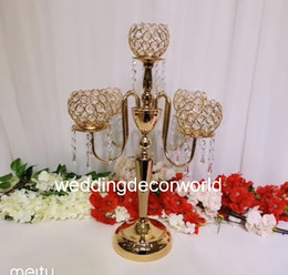 Glasses Decorations Australia - Latest Crystal Wedding Centerpiece glass Gold Candelabra Clear Candle Holder Event Party Table Decoration decor1021
