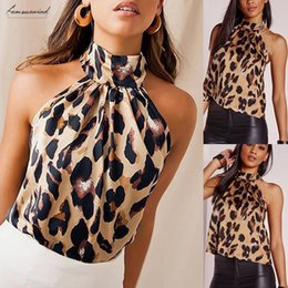 halter neck blouse women Australia - Leopard Women Halter Off Shoulder Tank Top Casual Blouse Applique Vest O Neck Shirt Top Blouse