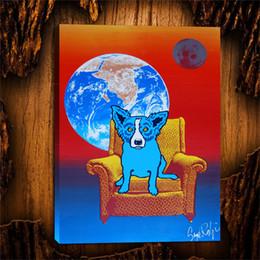 $enCountryForm.capitalKeyWord NZ - Blue Dog Space Chair -2,1 Pieces Canvas Prints Wall Art Oil Painting Home Decor (Unframed Framed) 24X32.