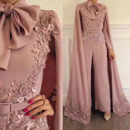 2019 Elegant Pink Jumpsuits Evening Dresses With Wrap Long Sleeves Appliqued Plus Size Prom Dress Beaded Outfit Formal Party Gowns Custom