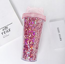 cute tumblers NZ - Hot selling Ear Glitter Double Layer Cups Kids Baby Cartoon Cute Creative Sequins Plastic Tumbler with Straws Juice Wine Glass 2 Style