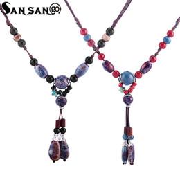 $enCountryForm.capitalKeyWord UK - Handmade Vintage Style Colorful Ceramic Stone Bead Pendant Necklace Long Sweater Chain Necklace Jewelry For Female
