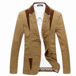 KhaKi double breasted dress online shopping - 2019 New Luxury Men Cotton Suits Dress Blazer Slim Fit Male Blaser Masculino Jacket Wedding Blazer for Men Regular Plus Size