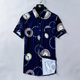 $enCountryForm.capitalKeyWord NZ - Men's Summer Shirt Short Sleeve Vintage Gear Print Dark Blue T-shirt Top Body Style Is Full Of Fabrics Excellent Skin-friendly Breathable