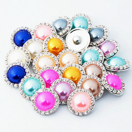 Discount faux pearl bracelet crystals - Chunks 18mm Ginger Snaps Crystal rhinestone faux Pearl Charm DIY Jewelry Fit Snap Button bracelet Necklace Jewelry in Bu