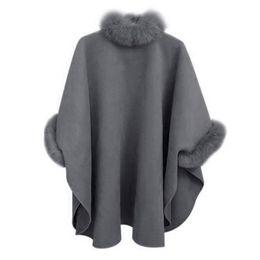 Warm Cloak Coat NZ - NEW Women Autumn Winter Fashion Elegance Warm Solid Color Fur Collar Medium Length Wool Coat Temperament Cloak Shawl Coat Female