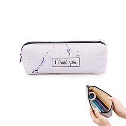 $enCountryForm.capitalKeyWord UK - Marble Cosmetic Bag, Pen Holder Makeup Bag Organizer Canvas Pencil Pouch Zipper Stationery Purse Cute Wallet Portable Cosmetic