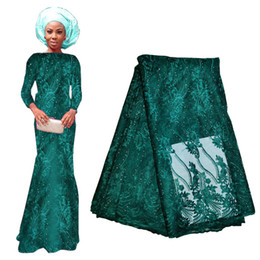 $enCountryForm.capitalKeyWord Australia - Dark Green Lace Fabrics With Beads 2020 New Wholesale 5 Yards Lace Material For Evening Prom Party Dress African Style 715-7
