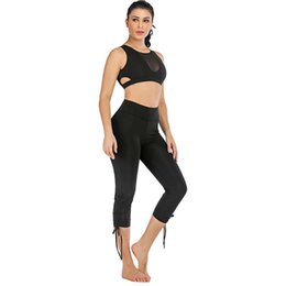 Color Yoga Pants UK - Sports Yoga Pants Adjustable Drawstring Trend Cropped Trousers Fitness Yoga Pants Large Size Straight Fit Body Shaping Fashion