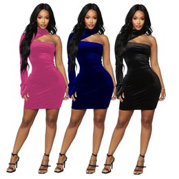 velvet bodycon NZ - Velvet One Shoulder Party Dresses Women Sexy Winter Warm Turtle Neck Hollow One Long Sleeve Zipper Mini Club Bodycon Dresses
