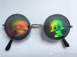 skull bar glasses Australia - Promotional-Harajuku zipper 3D laser eye skull Mama pattern Funny holiday party bar vintage round mirror sunglasses men and women Prince