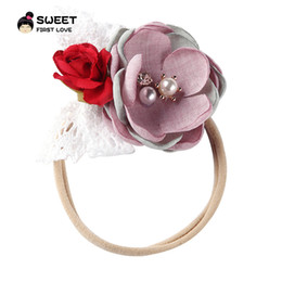 $enCountryForm.capitalKeyWord Australia - Baby headwear fabric color matching flower hair accessories kids super soft nylon hair ring