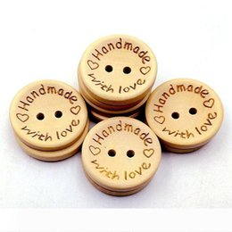 craft wholesale wooden natural buttons Australia - B Natural Color Wooden Buttons handmade love Letter wood button craft DIY baby apparel accessories