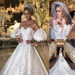 MusliM wedding dress green online shopping - 2020 Luxury Ball Gown Wedding Dresses off the shoulder Princess puffy Sleeves with lace Embroidery modest Bridal Gowns Formal Chapel Train