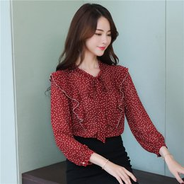 polka dot vintage shirt NZ - Long-sleeved Chiffon Blouse Women Polka Dot loose Spring 2019 long sleeve womens tops and blouses vintage women shirts 2004 50