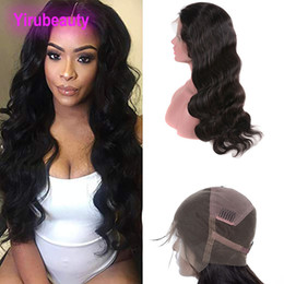 Natural virgiN braziliaN full lace wigs online shopping - Brazilian Virgin Hair inch Natural Black Human Hair Body Wave Lace Wig Pre Plucked Full Lace Wigs Body Wave Wigs