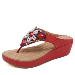 New Ethnic Style Hot Sale Bohemian Beaded Slope With Large Size 35-42  Sandals Comfortable Shoes Woman Sandals Heel Heigt 4bc396aa96f7