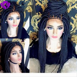 ombre braiding hair 16 inches UK - Hotsale africa women style brazilian full lace front Braided Wig natural Box Braids Wig synthetic hair wig with baby hair